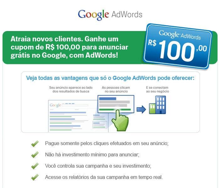 cupom antigo do Google Adwords