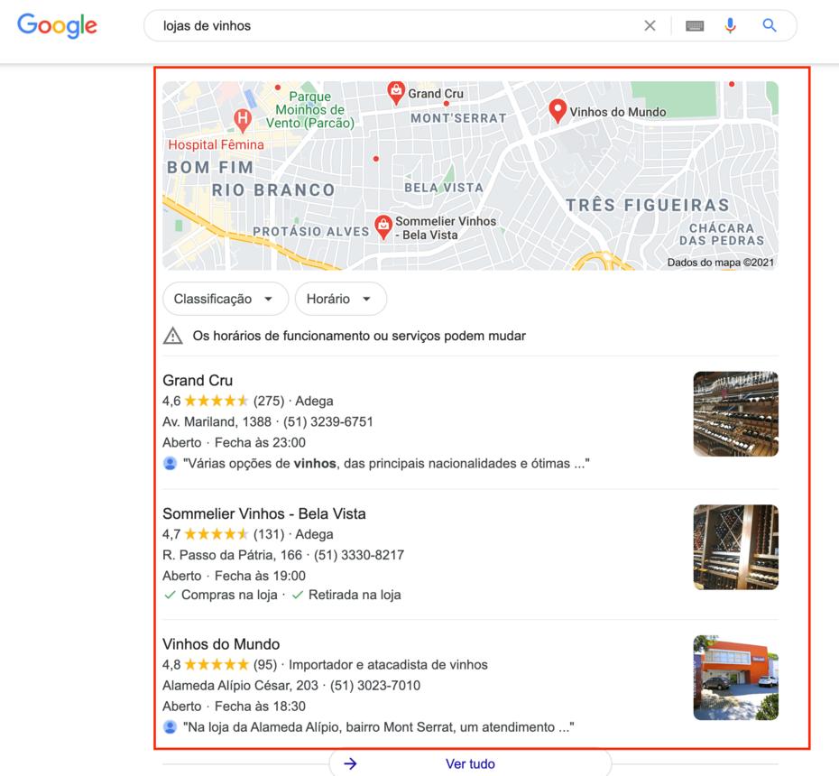 google meu negocio nos resultados locais