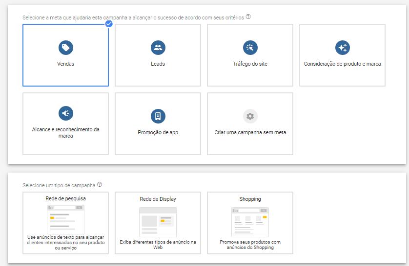 tipos de campanhas do Google