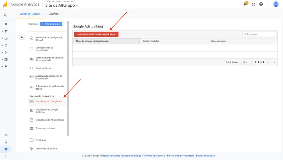 vinculacao google ads e google analytics